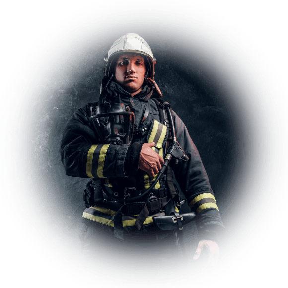 Fireman with granite background